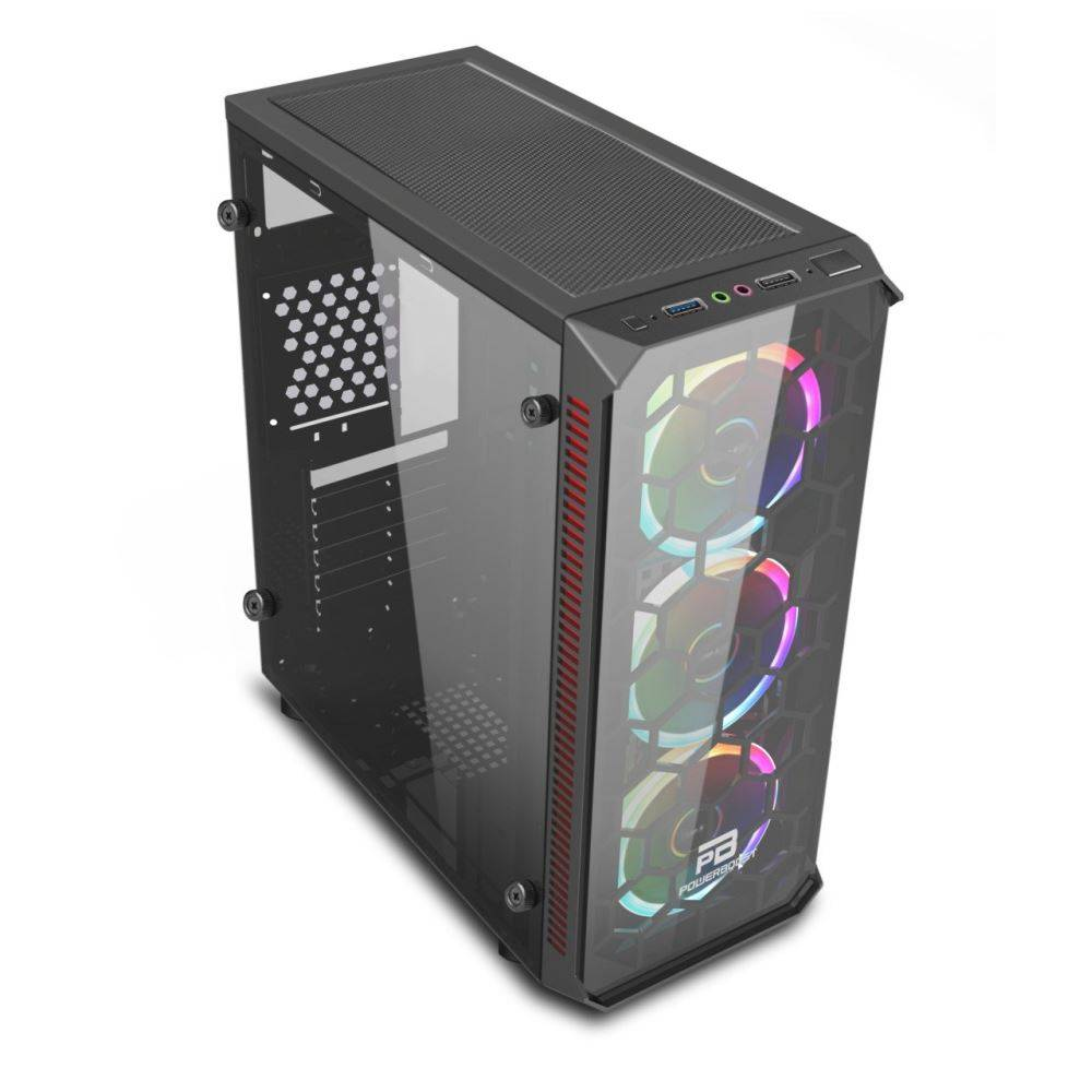 ATX POWERBOOST VK-C09B TEMPERED GLASS ARGB SİYAH KASA PSU YOK