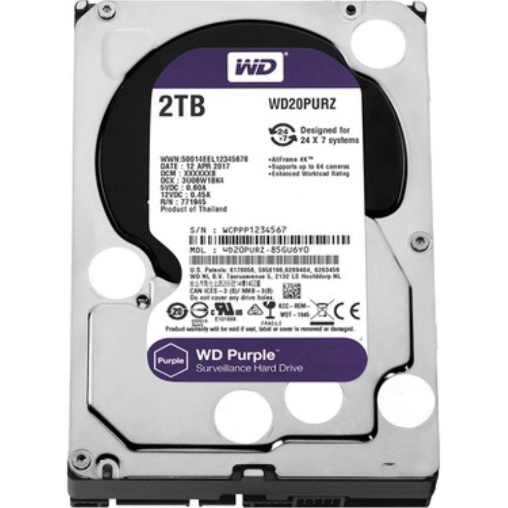 HDD GUV 2TB WD SATA 64MB PURPLE WD20PURZ 7/24 GÜVENLİK