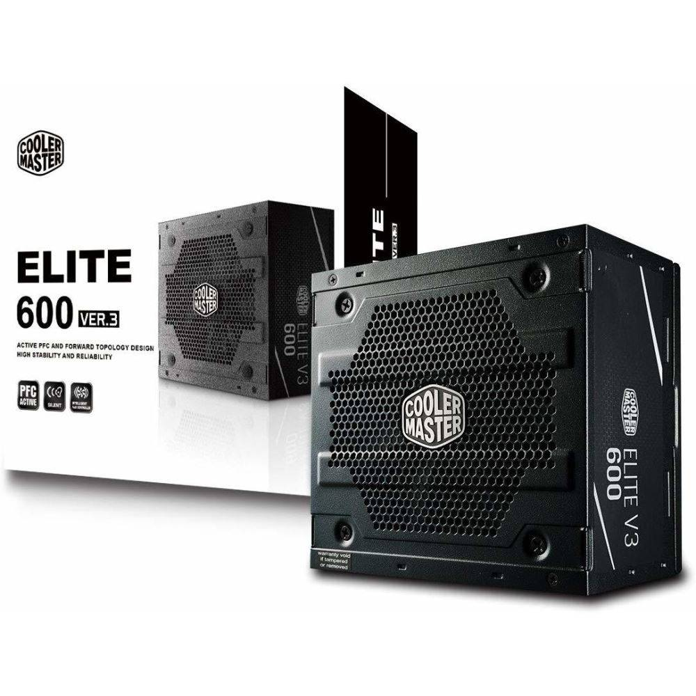 PSU COOLERMASTER ELİTE V3 600W AKTİF PFC 120MM FAN MPW-6001-ACABN1