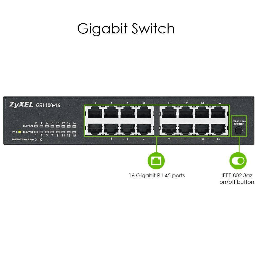 SWITCH 16 PORT ZYXEL GS1100-16 10/100/1000