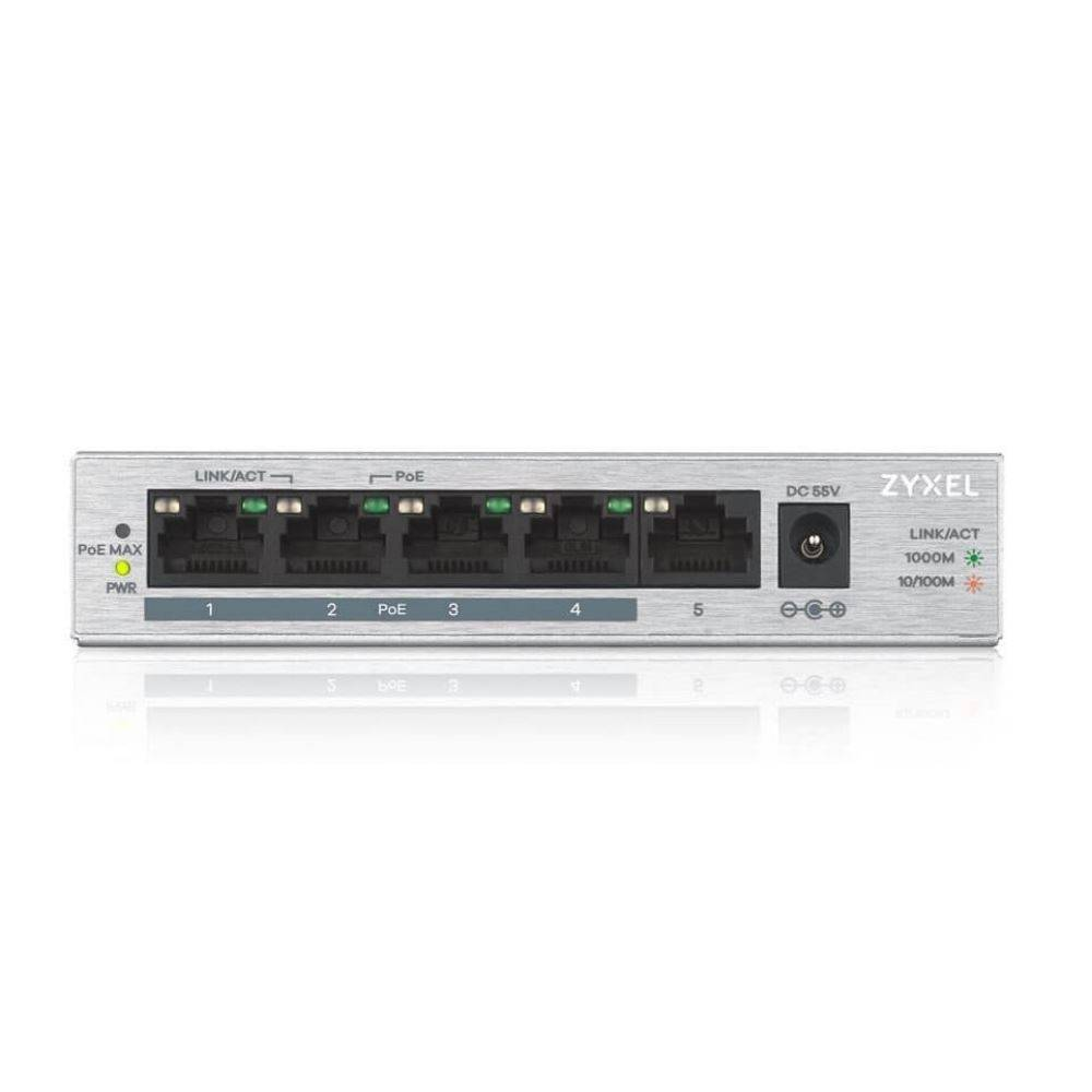 SWITCH ZYXEL 5 PORT POE GIGABIT 10/100/1000 GS-1005HP